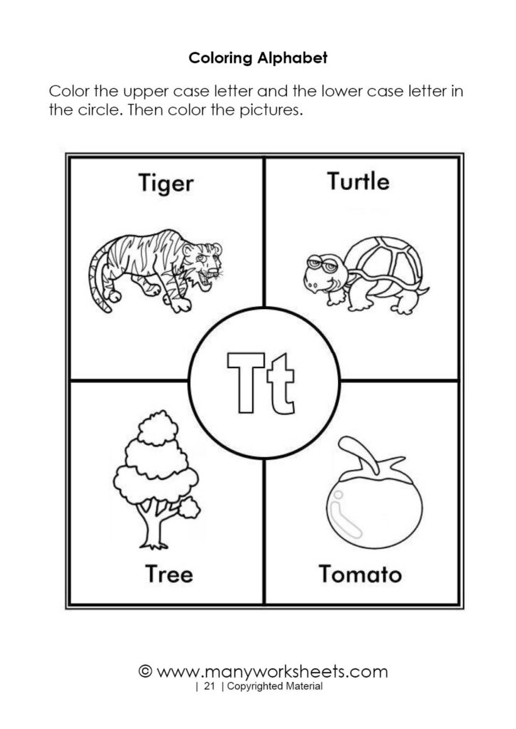 Alphabet Coloring Pages – Letter T In Alphabet Worksheets Coloring Pages
