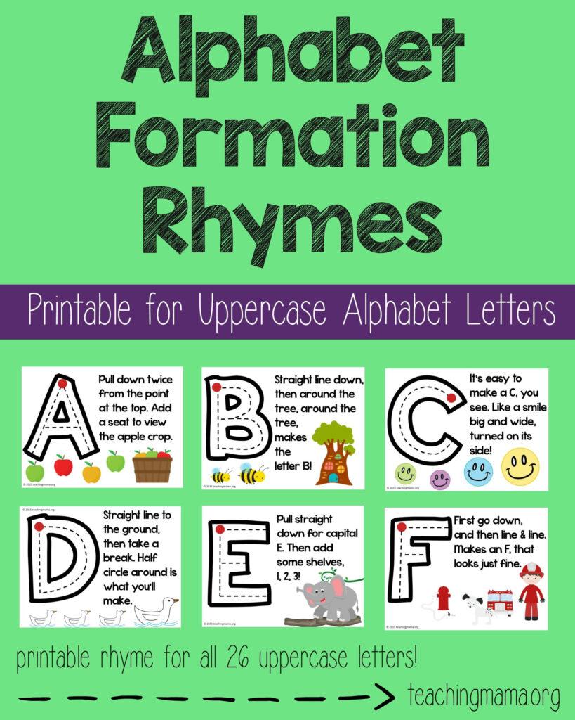 Alphabet Formation Rhymes | Alphabet Preschool, Preschool Inside Alphabet Tracing Rhymes