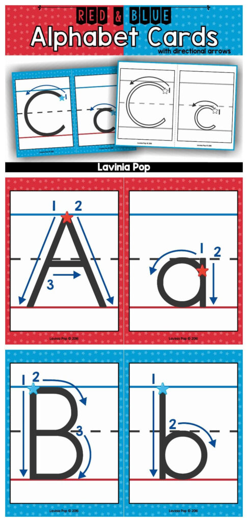 Alphabet Handwriting Cards With Directional Arrows   Red Within Letter Tracing Directional Arrows