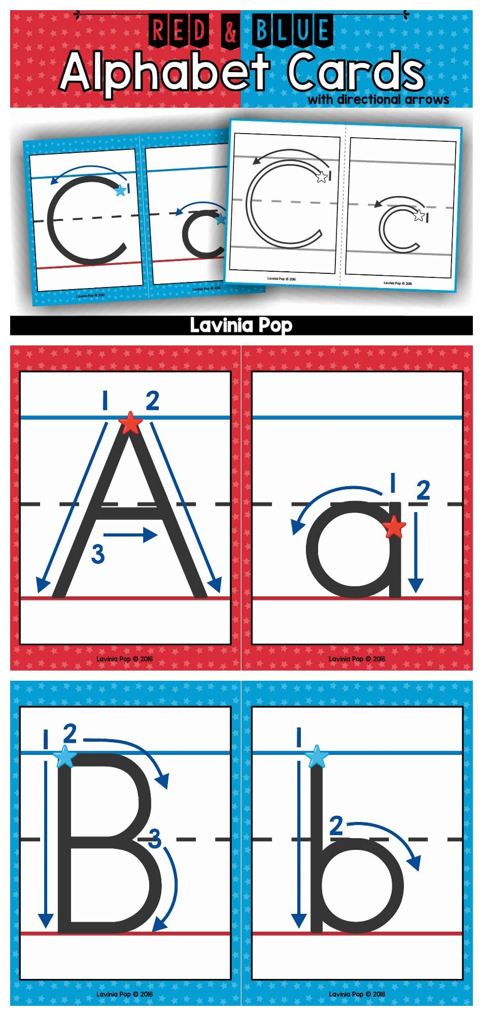 Alphabet Handwriting Cards With Directional Arrows - Red within Letter Tracing Directional Arrows