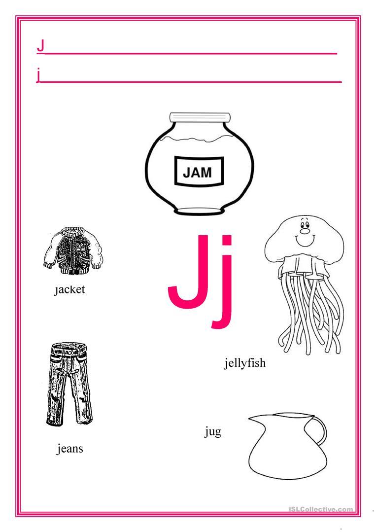 Alphabet Letter J - English Esl Worksheets For Distance with regard to Letter J Worksheets Activity