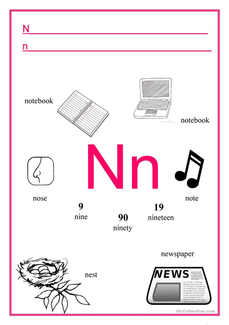 Alphabet Letter N - English Esl Worksheets For Distance with regard to Letter N Worksheets