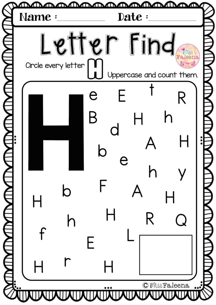 Alphabet Letter Of The Week H | Letter H Activities For Inside Letter H Worksheets For Pre K