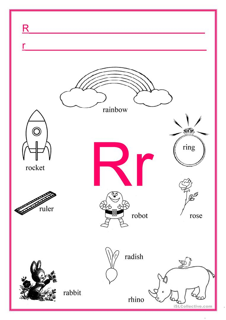 Alphabet Letter R - English Esl Worksheets For Distance for Alphabet Worksheets Grade R