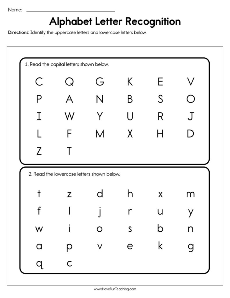 Alphabet Letter Recognition Assessment Intended For Pre K Alphabet Review Worksheets