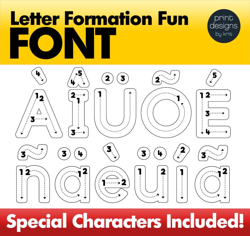 Alphabet Letter Tracing Font • Letter Formation Font In Alphabet Tracing Font