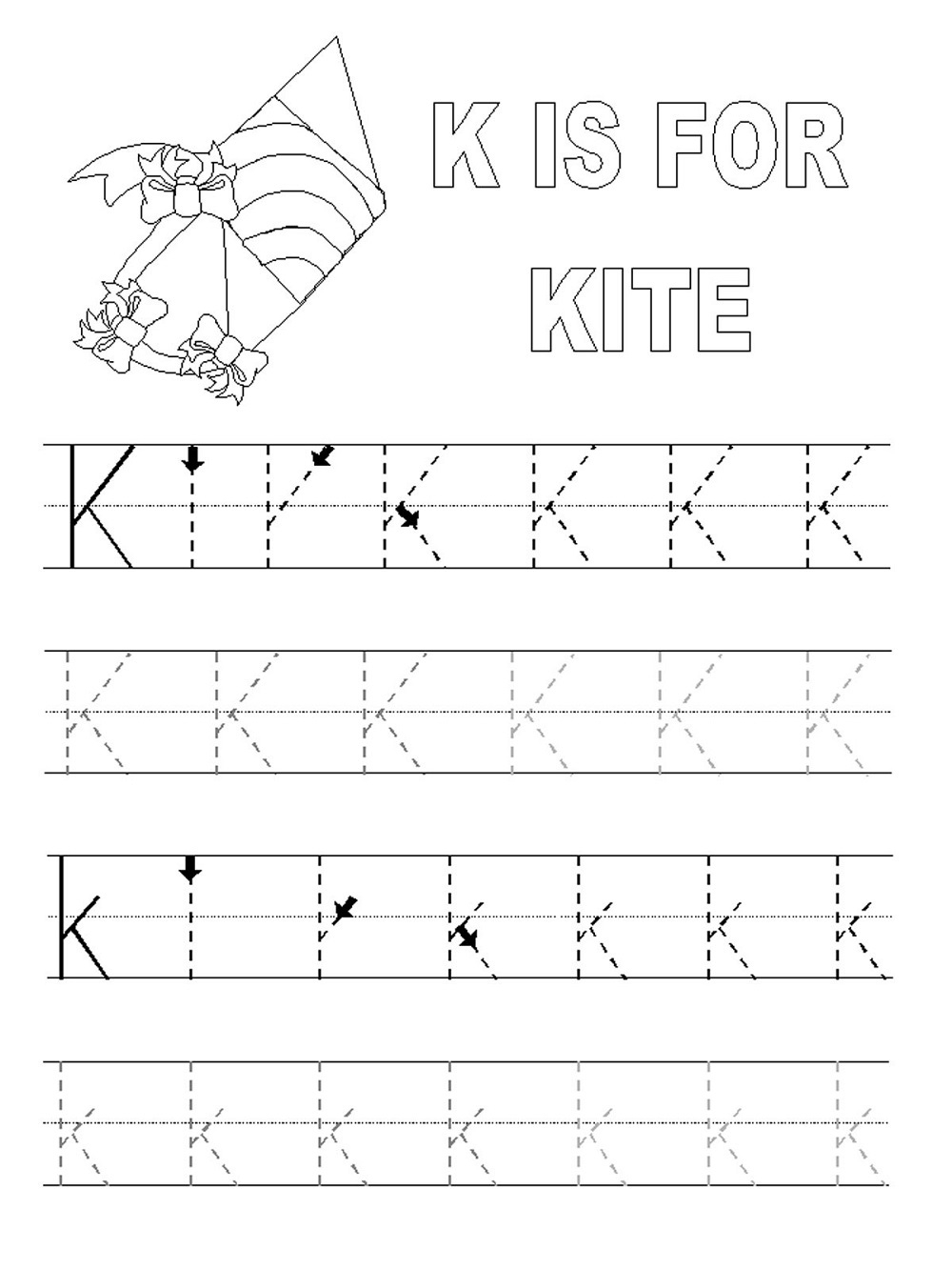 Alphabet Letter Tracing Printables | Activity Shelter for Alphabet K Tracing
