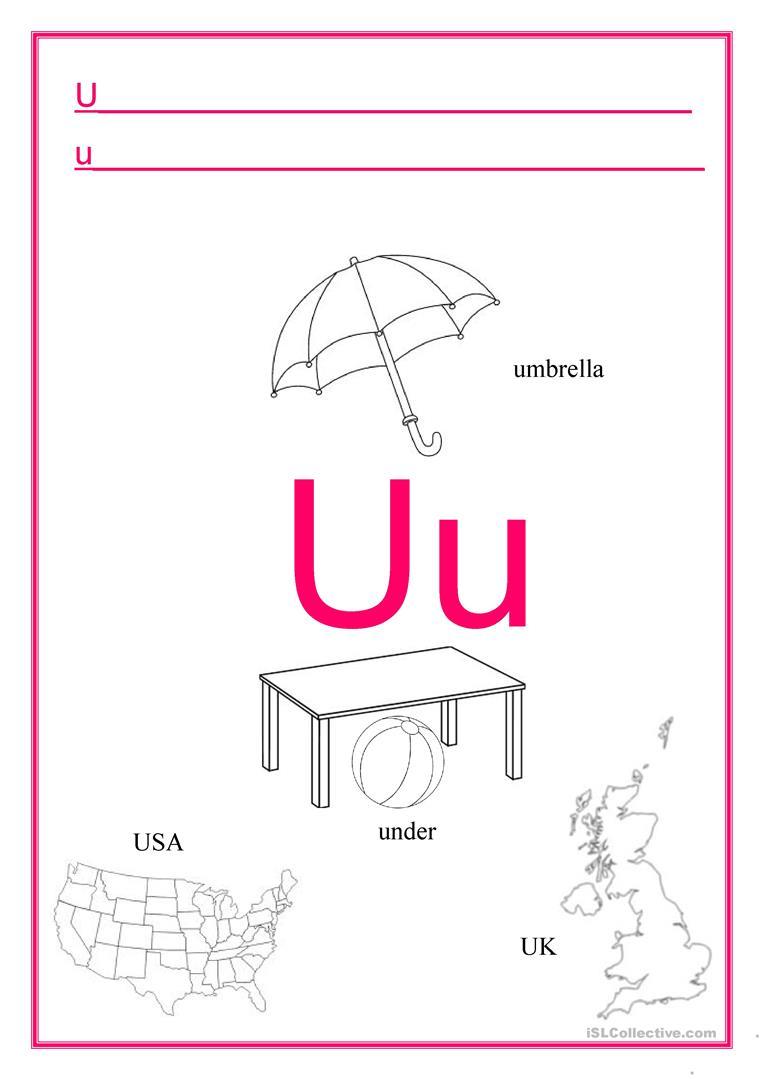 Alphabet Letter U - English Esl Worksheets For Distance for U Letter Worksheets