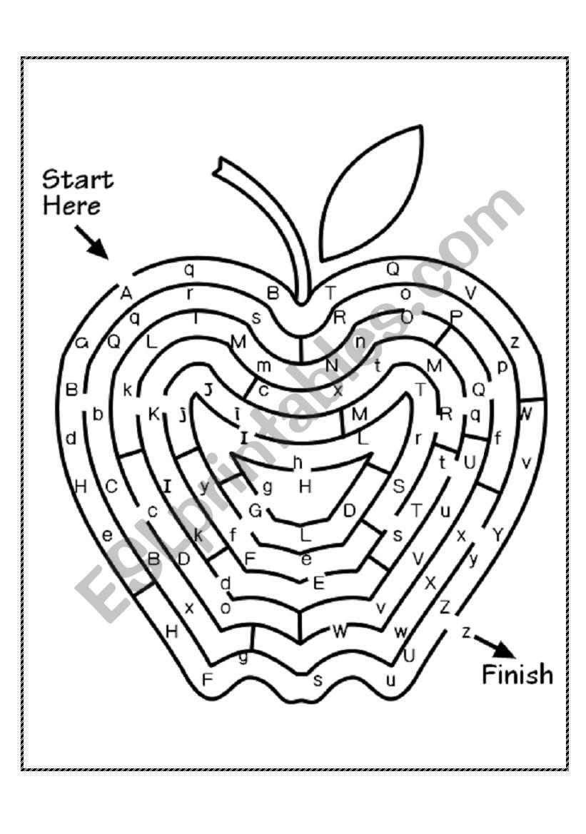 Alphabet Maze - Esl Worksheetmoemi throughout Alphabet Worksheets Maze