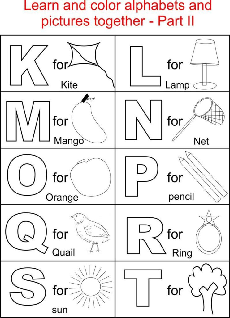 Alphabet Part Ii Coloring Printable Page For Kids: Alphabets With Regard To Alphabet Coloring Worksheets For Kindergarten
