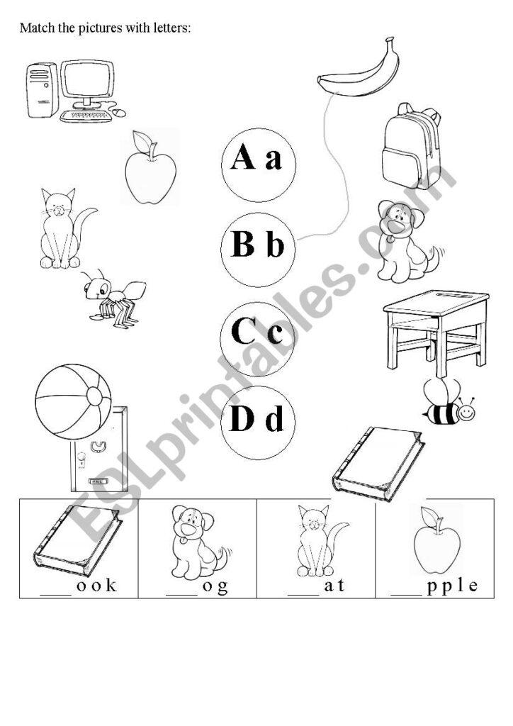 Alphabet / Phonics A B C D   Esl Worksheetjkott Inside Worksheets Alphabet And Phonics