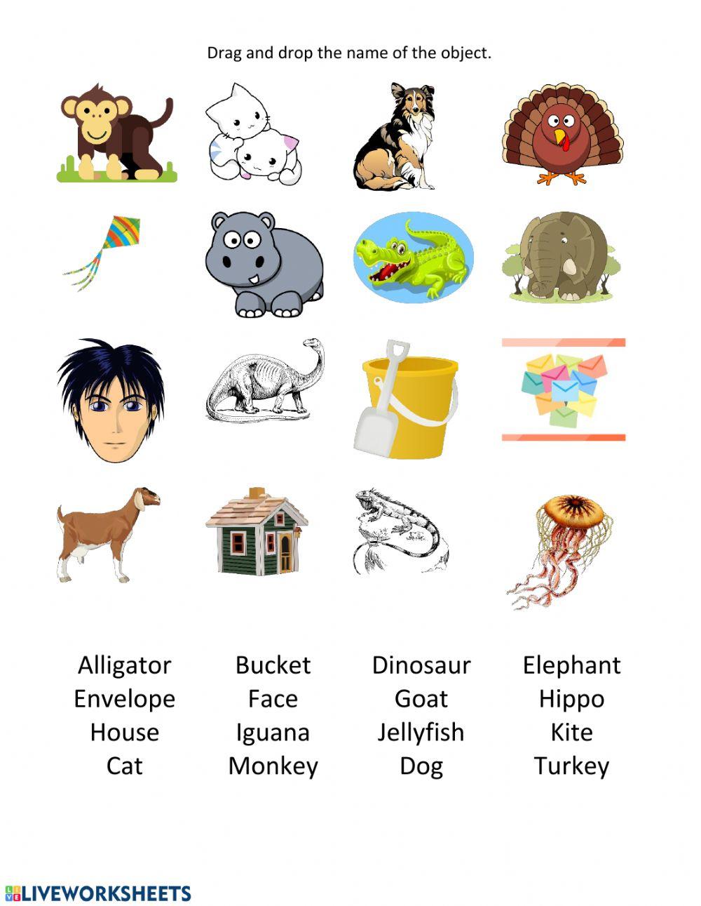 Alphabet Practice - A-T Vocabulary - Interactive Worksheet in Alphabet Vocabulary Worksheets