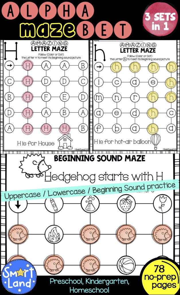 Alphabet Practice 3Sets Of Letter Mazes (With Images Inside Alphabet Worksheets Maze