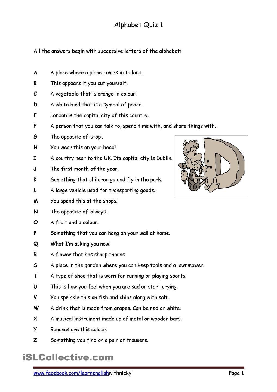 Alphabet Quiz 1 | Knowledge Quiz, Quiz, Fun Quiz pertaining to Letter Logic Worksheets Answers