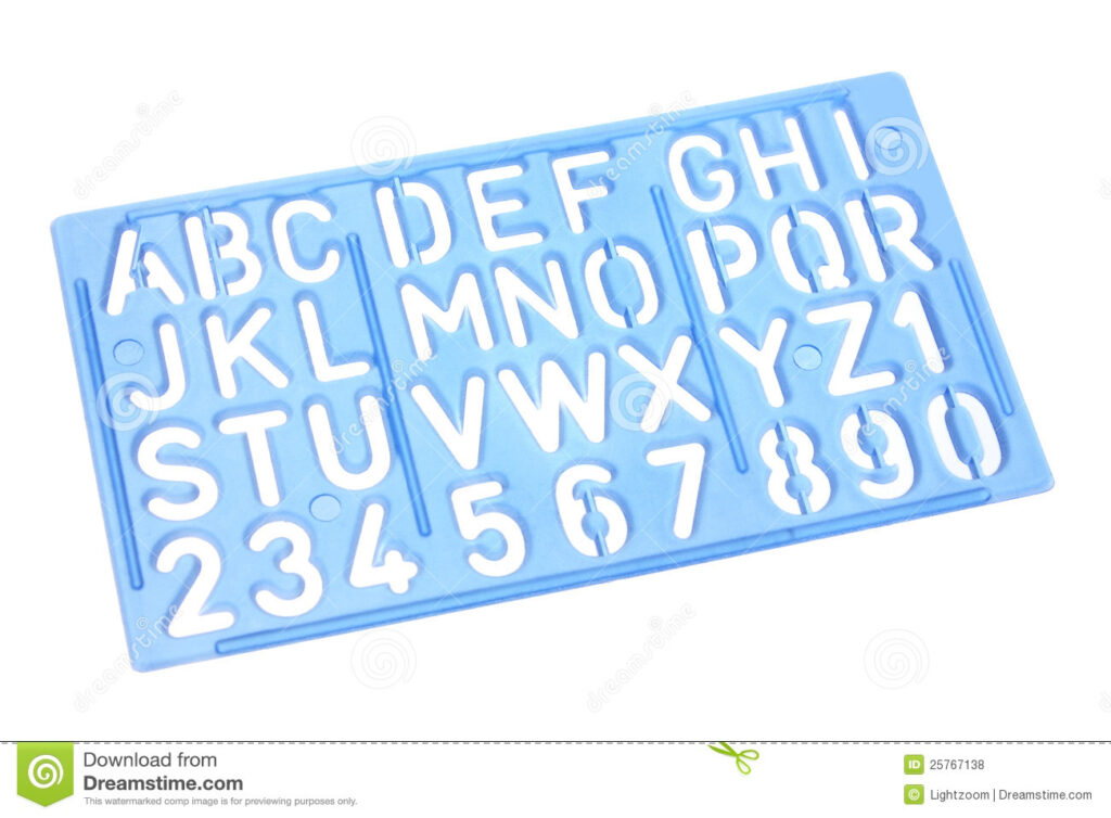 Alphabet Stencil Stock Photo. Image Of Numbers, Characters Intended For Letter Tracing Ruler