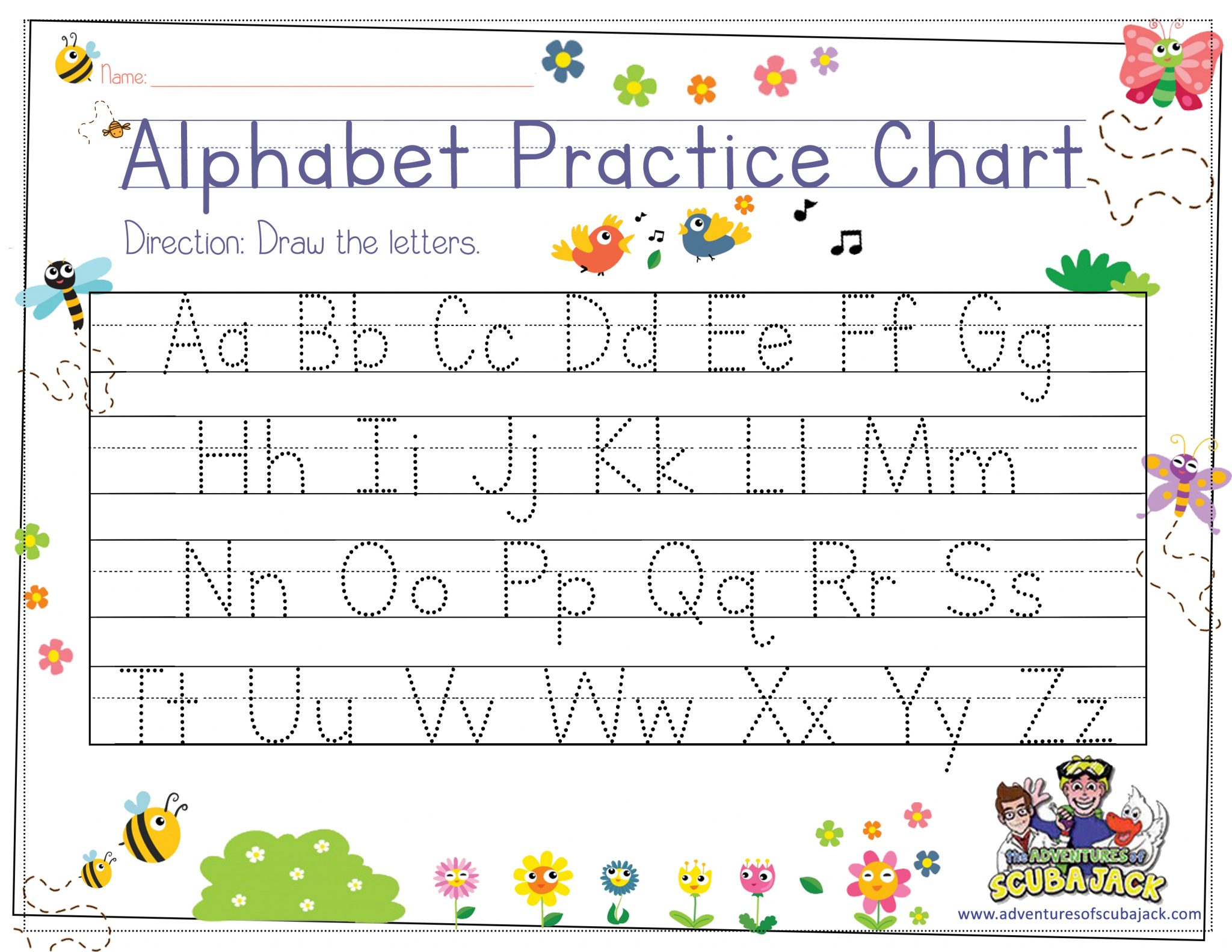 Alphabet Tracing For Preschoolers | The Preschool Adventures with regard to Alphabet Tracing Chart Printable