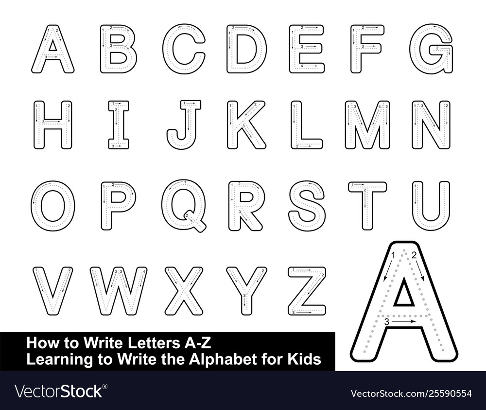 Alphabet Tracing Letters Step Step inside Letter Tracing Vector