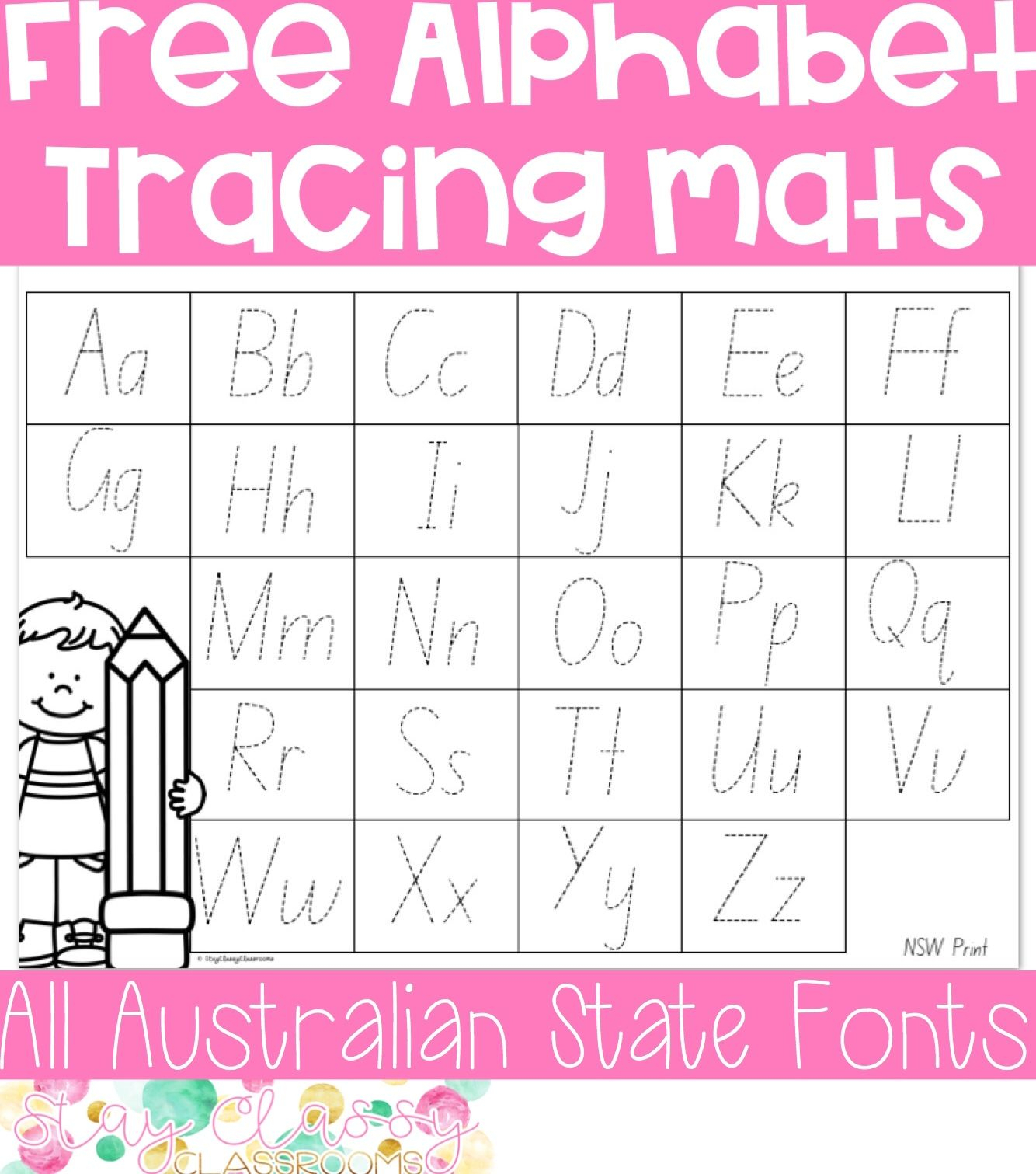 Alphabet Tracing Mats (Print And Australian Fonts in Alphabet Tracing Nsw