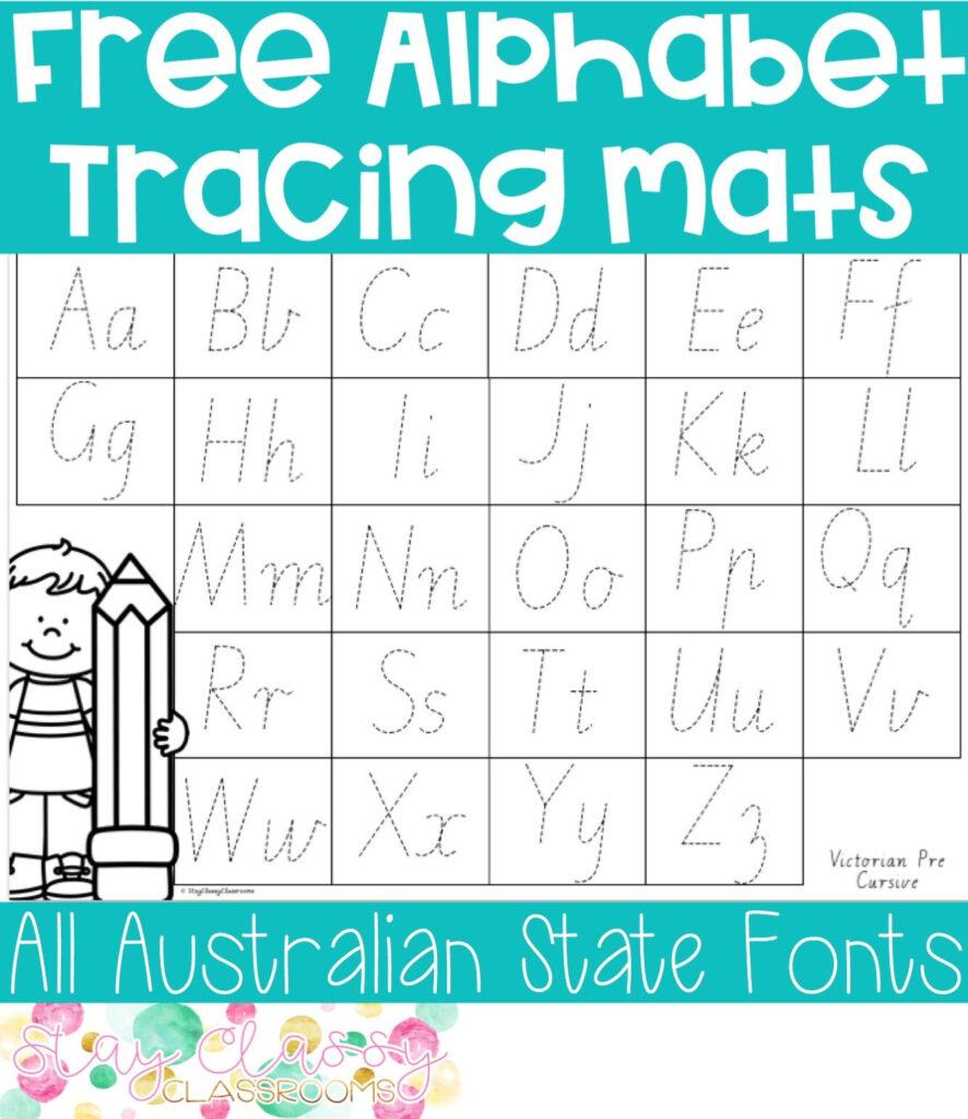 Alphabet Tracing Mats (Print And Australian Fonts Throughout Alphabet Tracing Mat