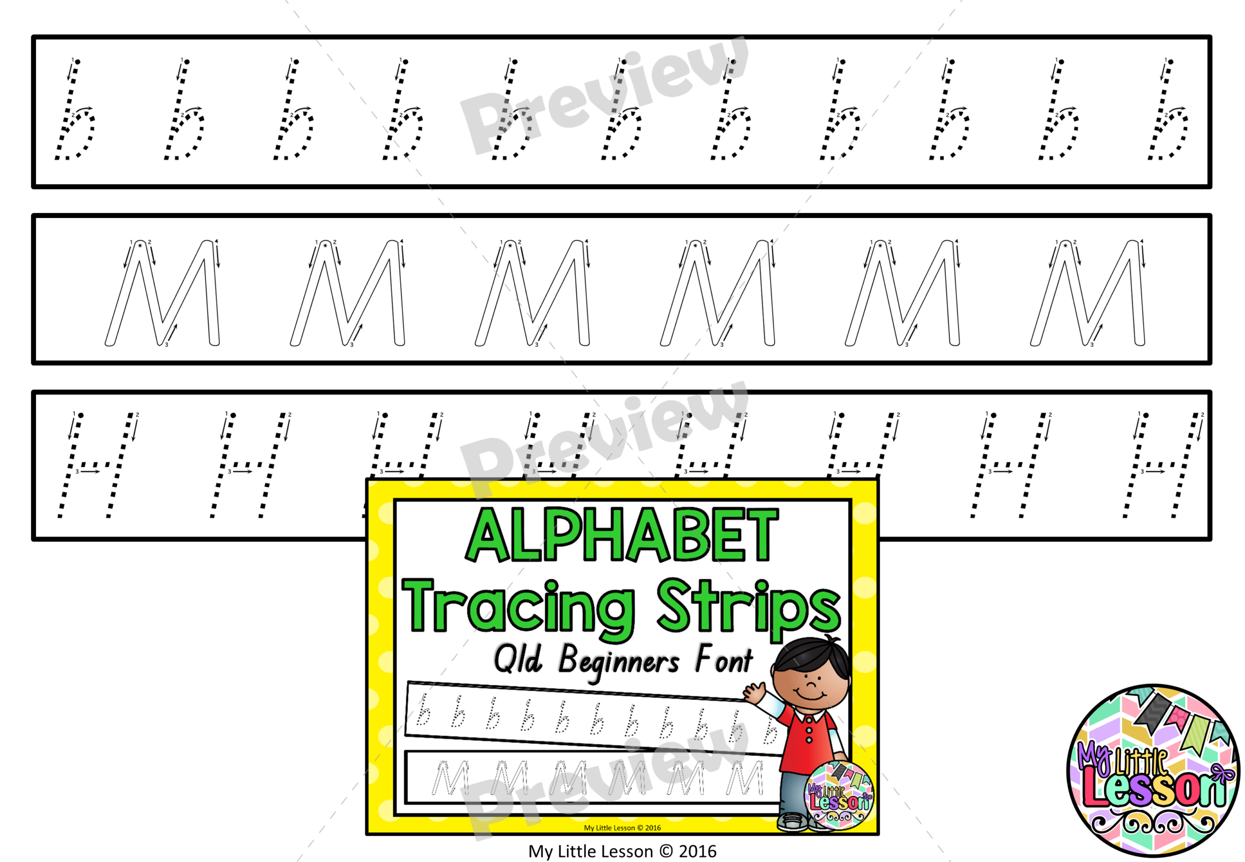 Alphabet Tracing Strips Qld Beginners Font in Alphabet Tracing Qld