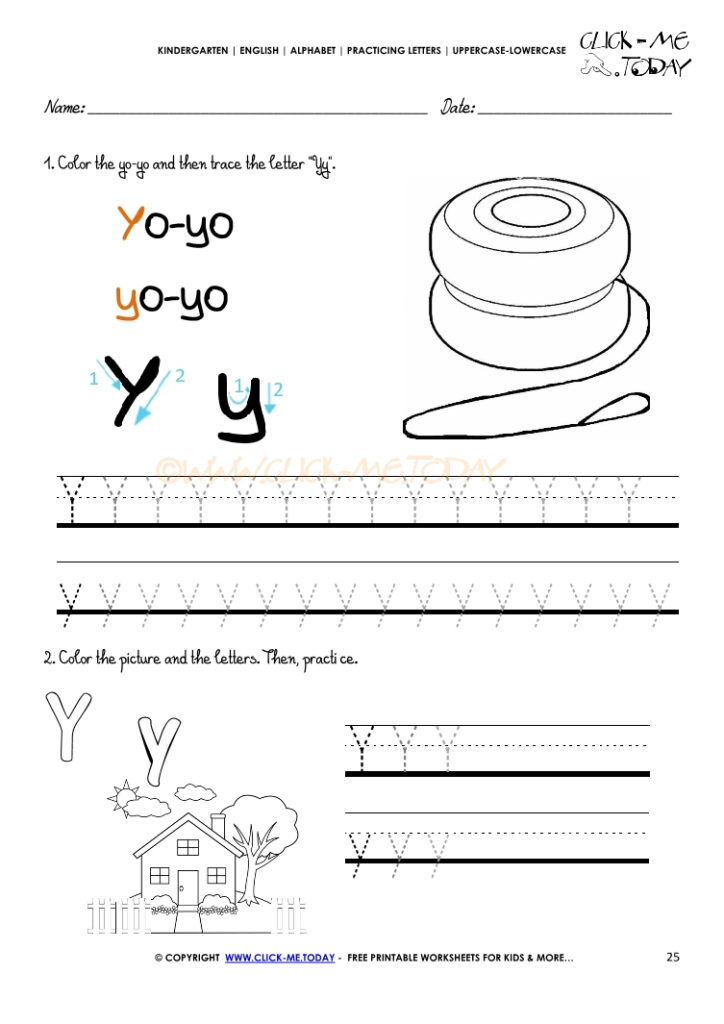 Alphabet Tracing Worksheets   How To Write Letter Y Within Alphabet Tracing Letter Y