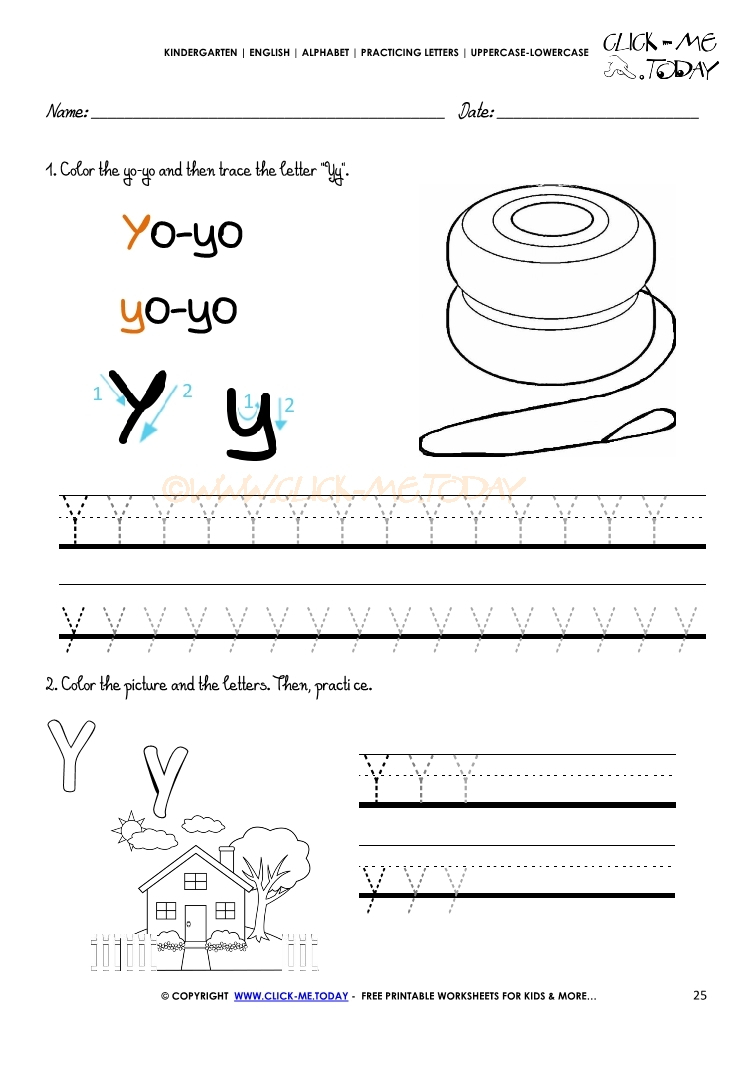 Alphabet Tracing Worksheets - How To Write Letter Y within Alphabet Tracing Letter Y