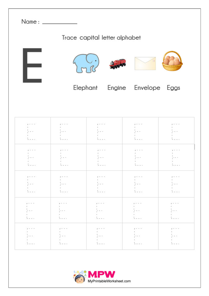 Alphabet Tracing Worksheets, Printable English Capital For Letter Tracing E