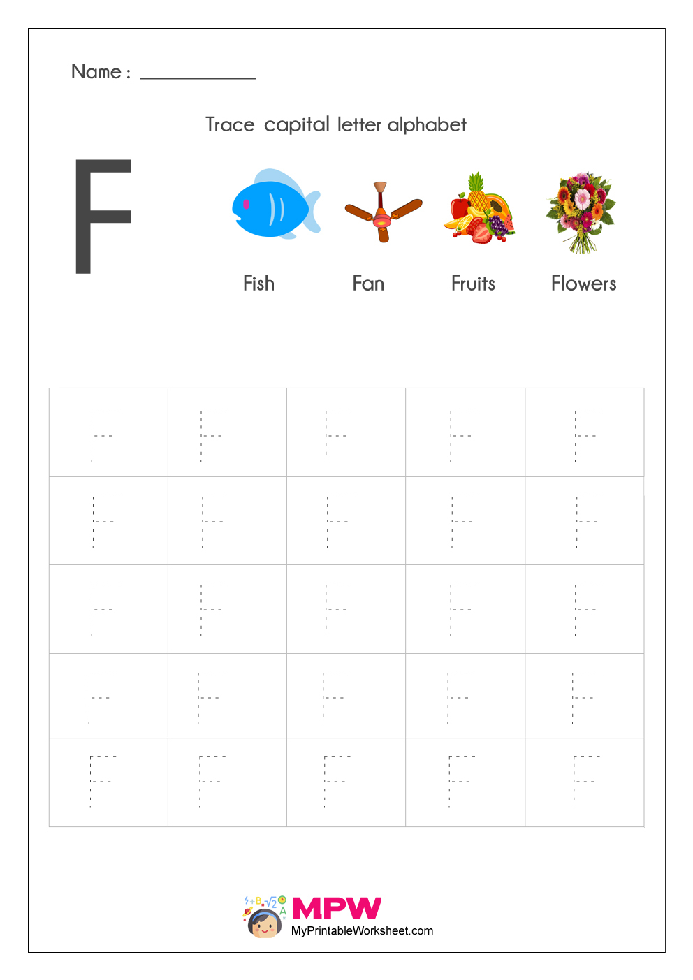 Alphabet Tracing Worksheets, Printable English Capital inside F Letter Tracing