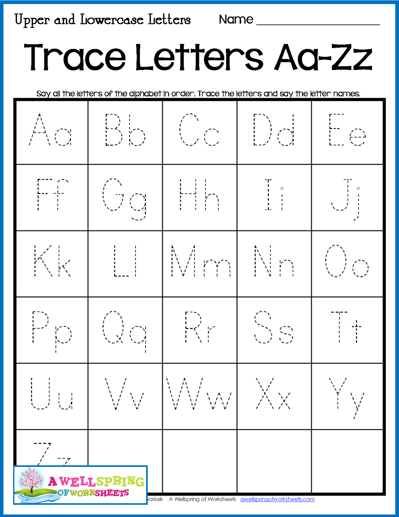 Alphabet Tracing Worksheets - Uppercase & Lowercase Letters intended for Alphabet Tracing Chart Printable