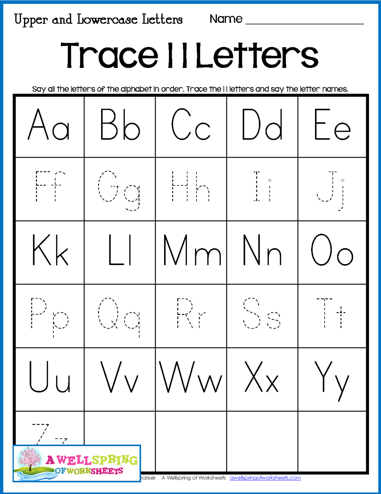 Alphabet Tracing Worksheets - Uppercase & Lowercase Letters with Alphabet Tracing Order