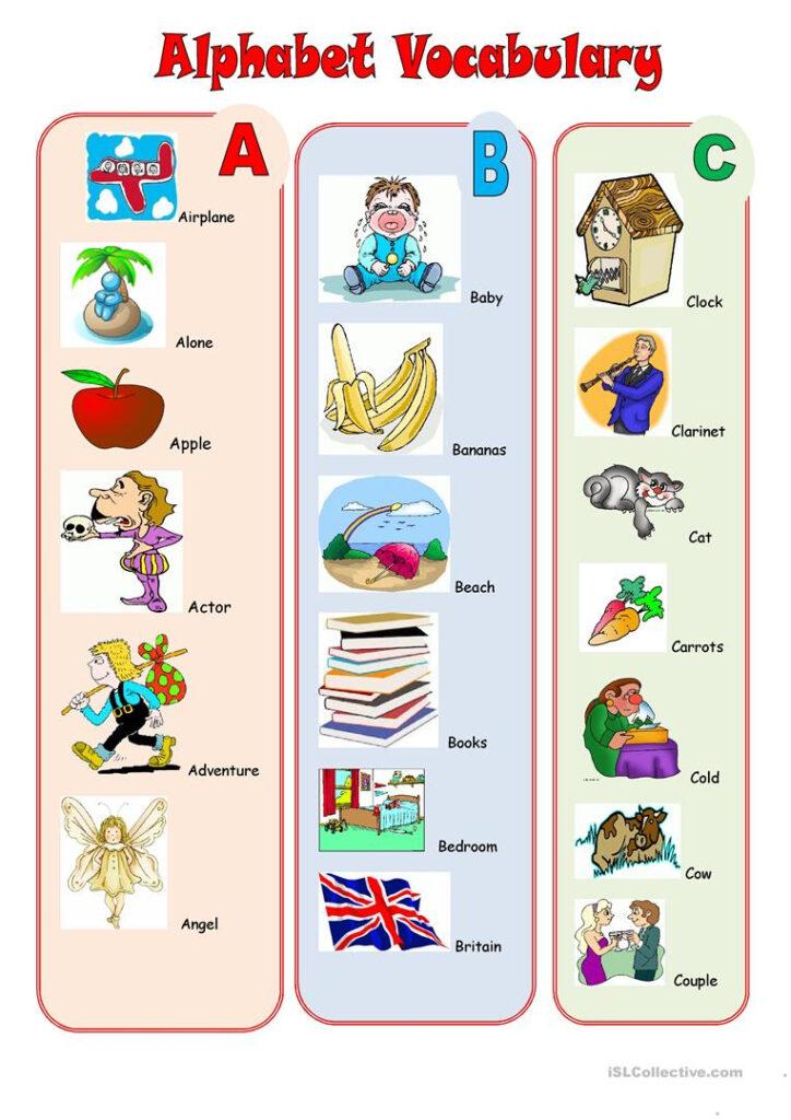 Alphabet Vocabulary   English Esl Worksheets For Distance Inside Alphabet Vocabulary Worksheets