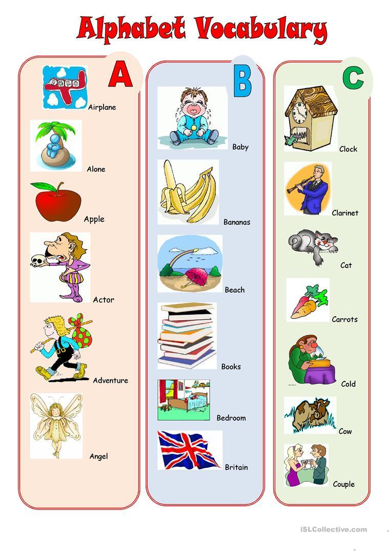 Alphabet Vocabulary - English Esl Worksheets For Distance inside Alphabet Vocabulary Worksheets