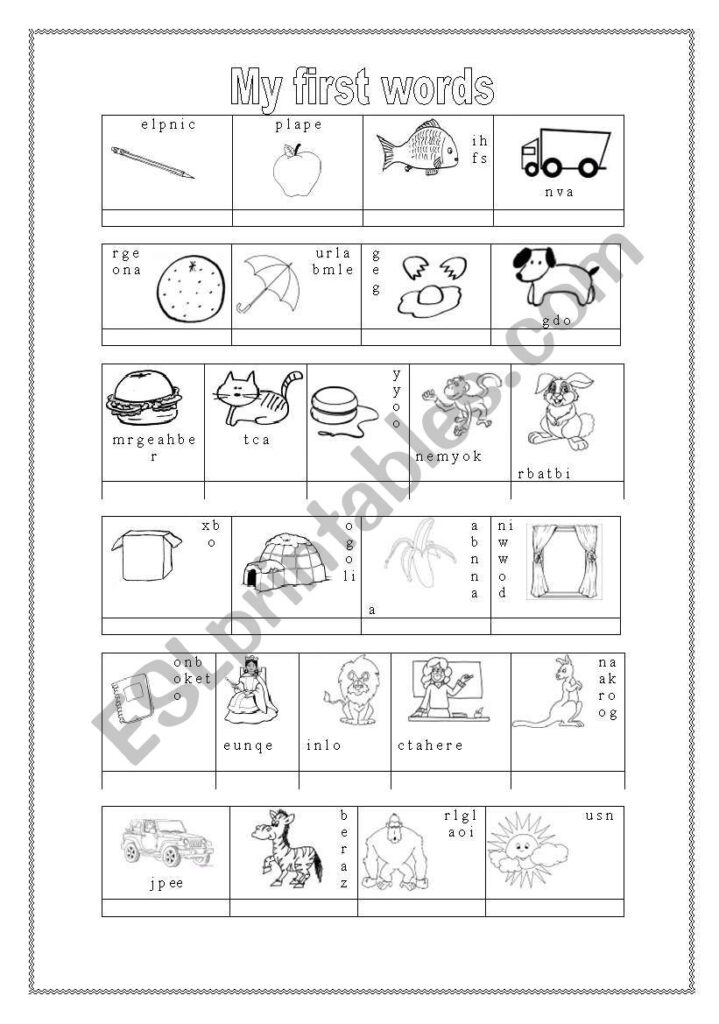 Alphabet Words   Esl Worksheetemilykar Pertaining To Alphabet Words Worksheets