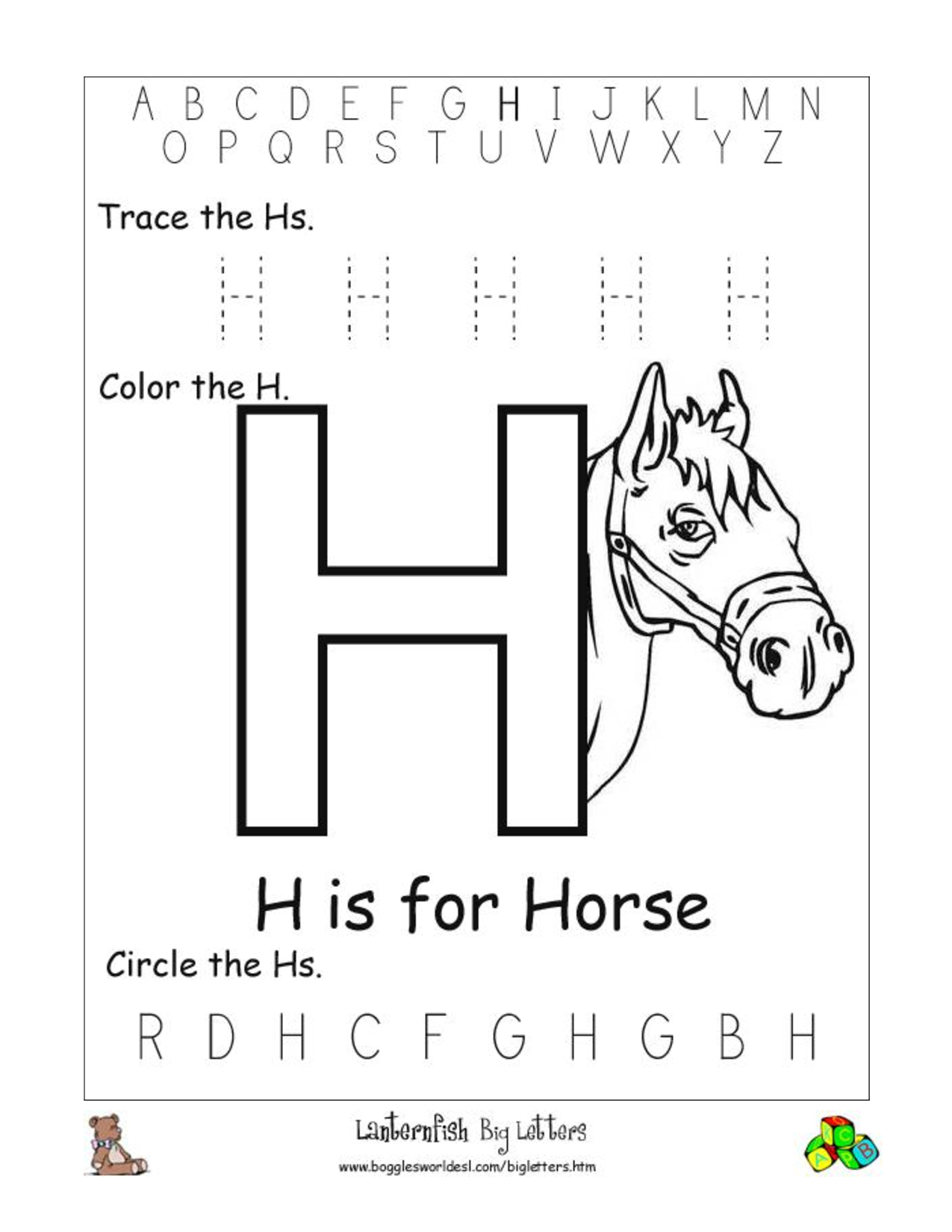 Alphabet Worksheets For Preschoolers |  Activities throughout Letter H Worksheets For Pre K