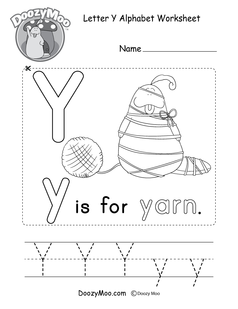 Alphabet Worksheets (Free Printables) - Doozy Moo pertaining to Letter Y Worksheets For First Grade