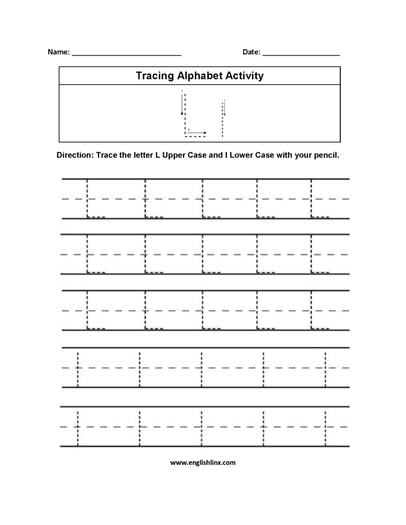 Alphabet Worksheets | Tracing Alphabet Worksheets For L Letter Tracing