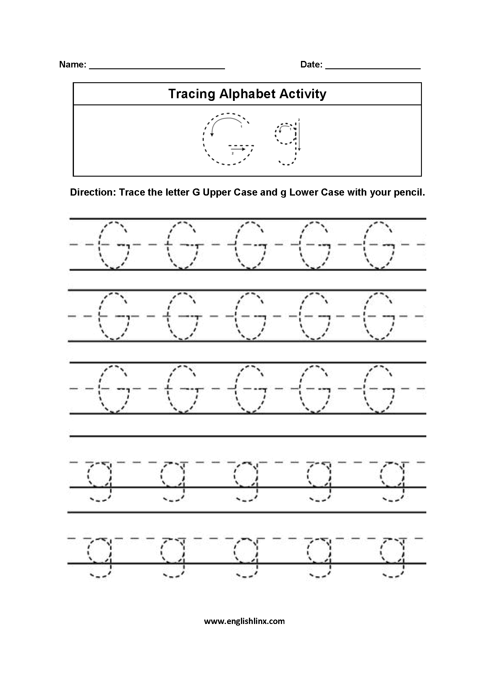 Alphabet Worksheets | Tracing Alphabet Worksheets for Letter G Tracing Page