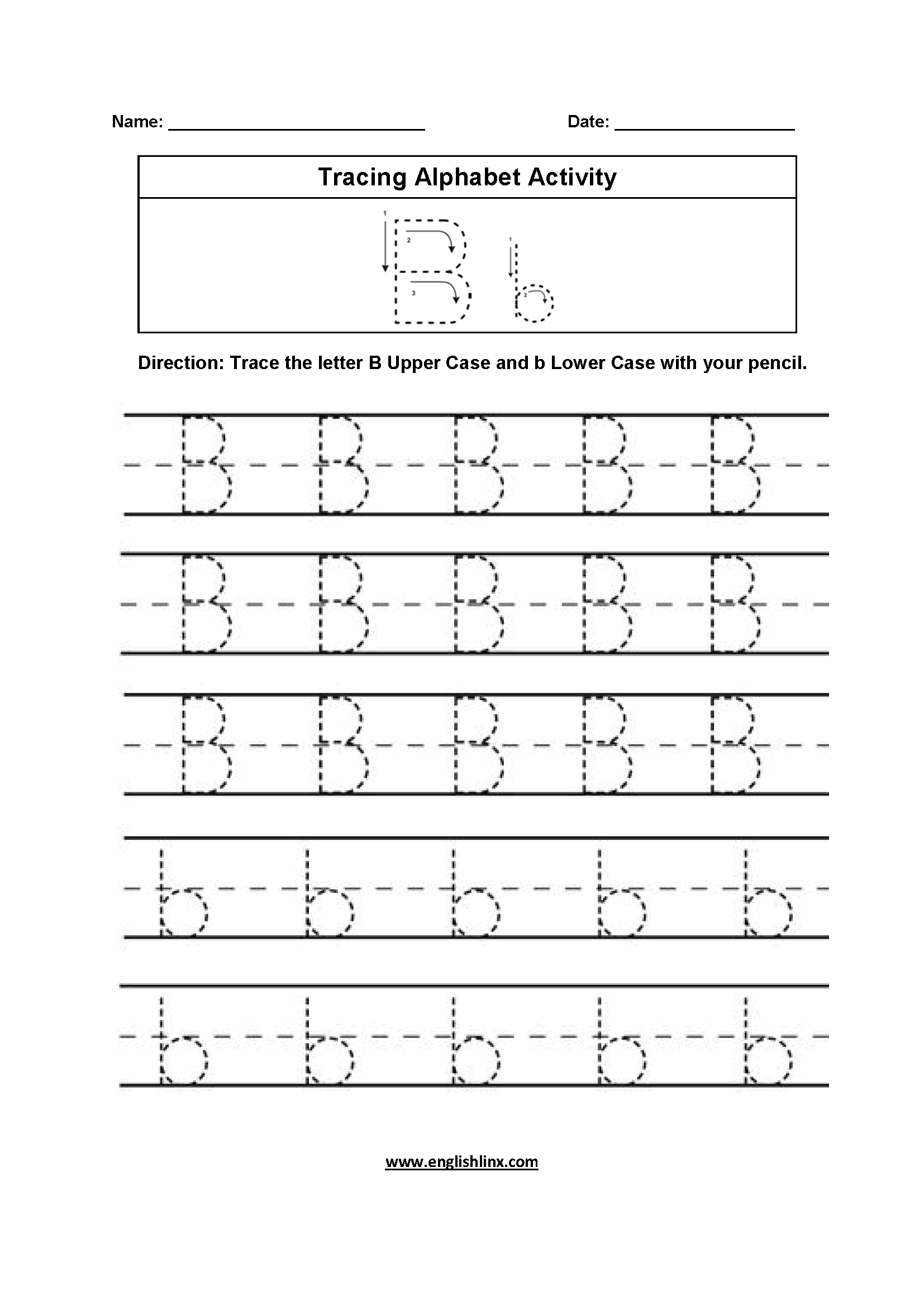 Alphabet Worksheets | Tracing Alphabet Worksheets regarding Letter B Tracing Sheet