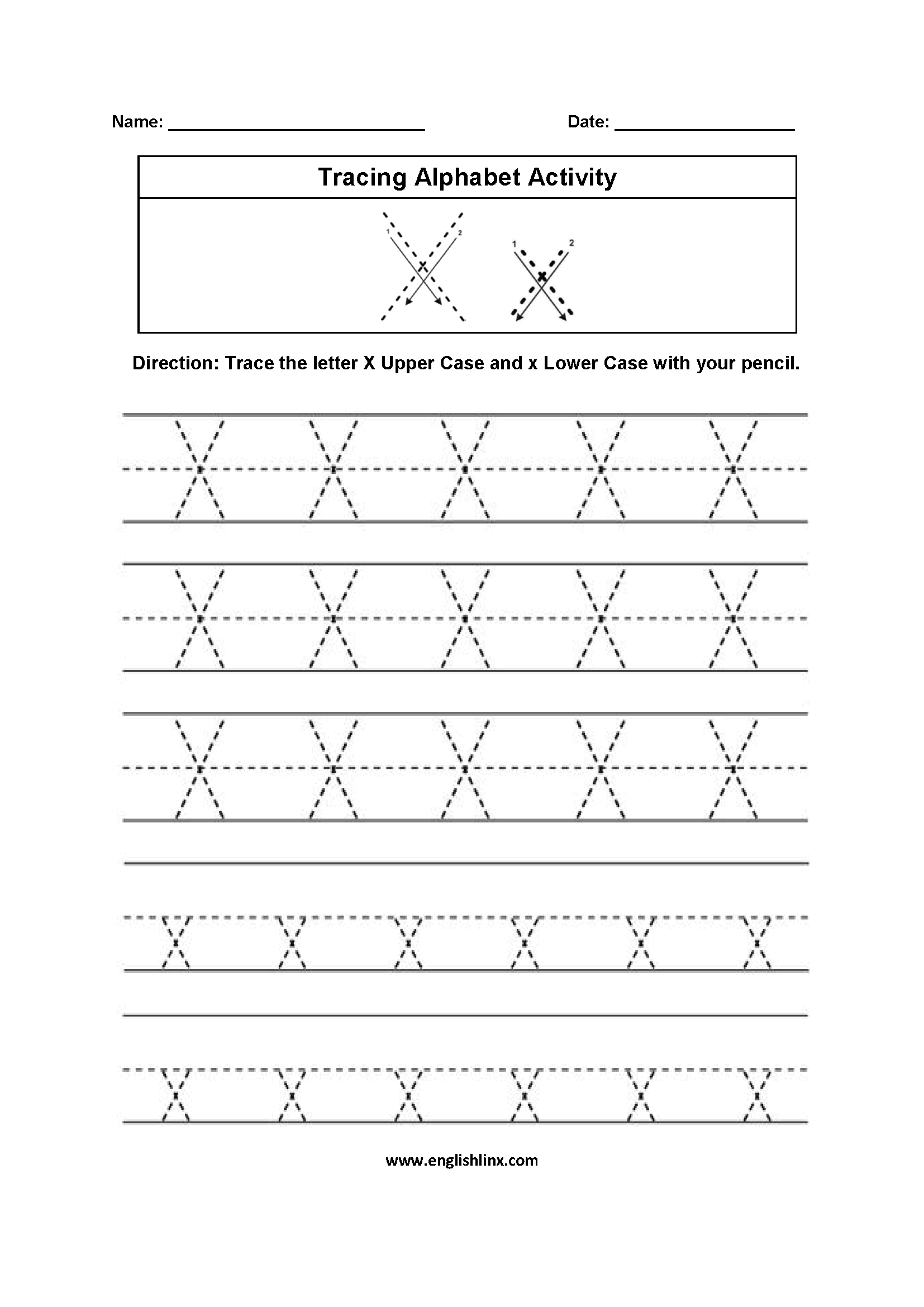 Alphabet Worksheets | Tracing Alphabet Worksheets regarding Letter X Tracing Sheet