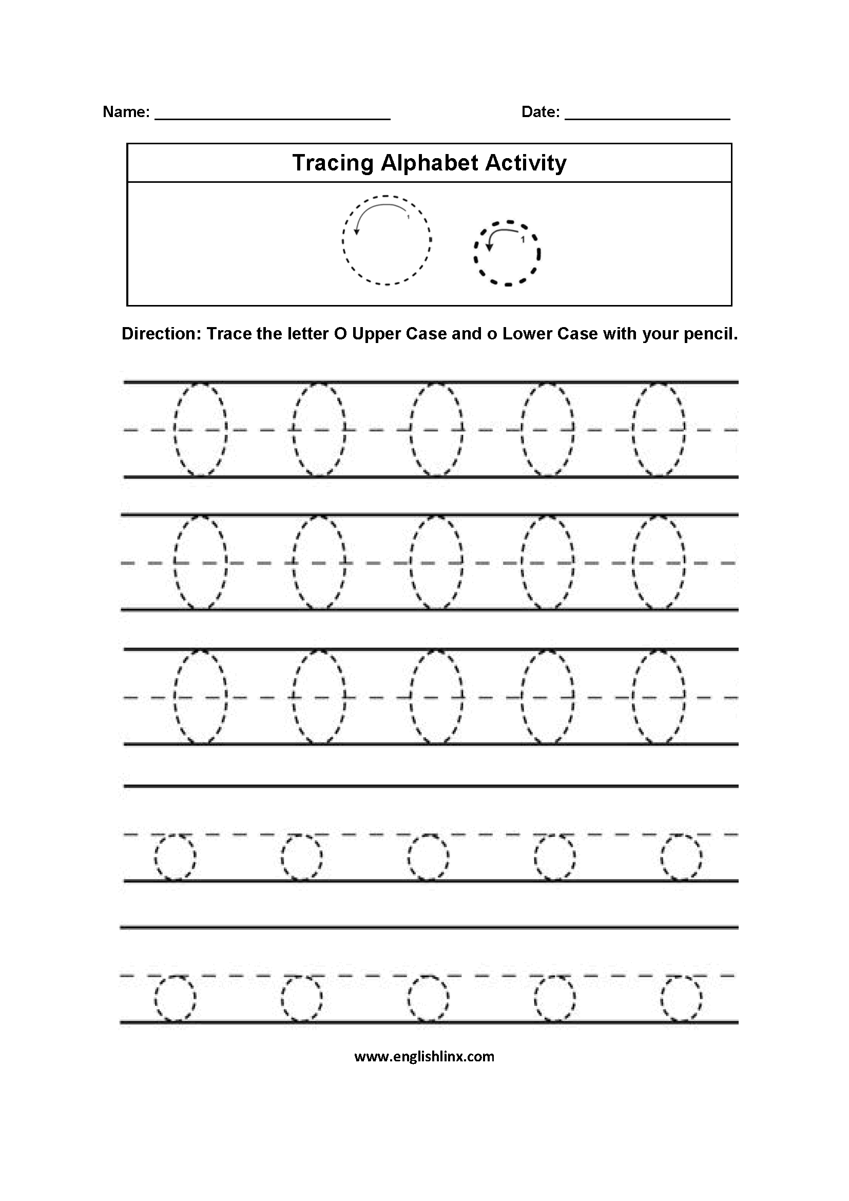 Alphabet Worksheets | Tracing Alphabet Worksheets with Letter O Tracing Sheet
