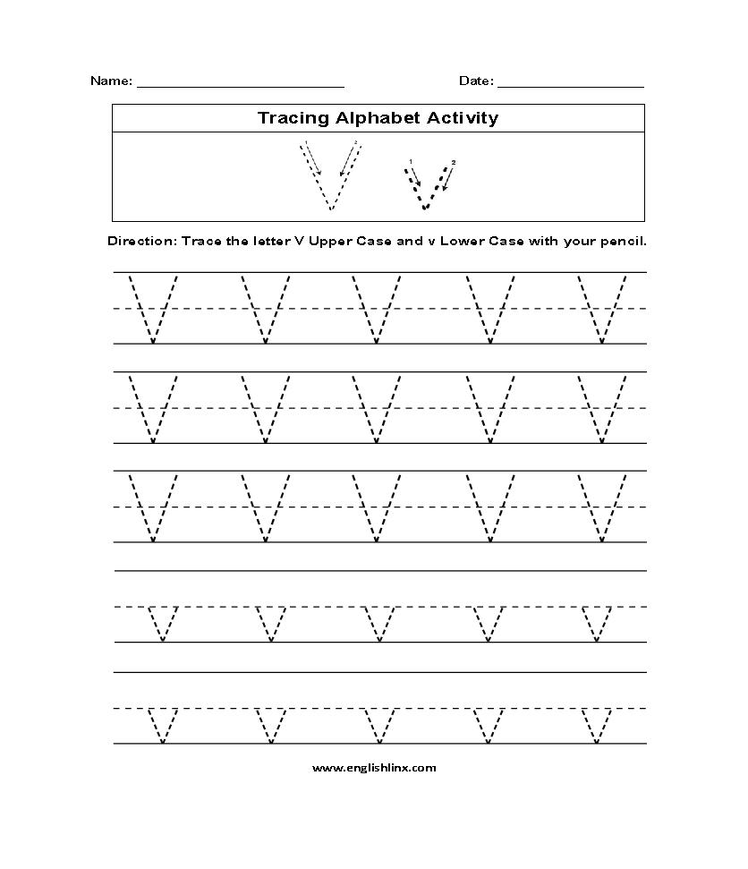 Alphabet Worksheets | Tracing Alphabet Worksheets with Letter V Tracing Sheet