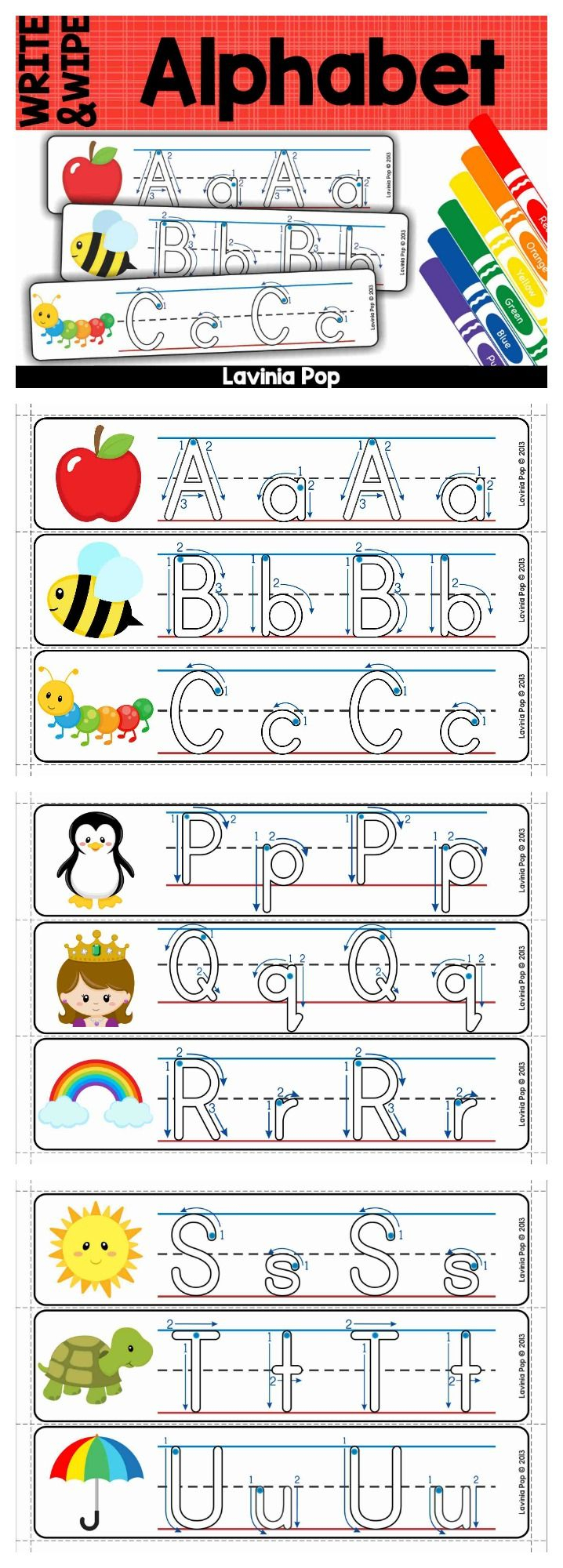 Alphabet Write And Wipe With Correct Letter Formation for Letter Tracing Directional Arrows