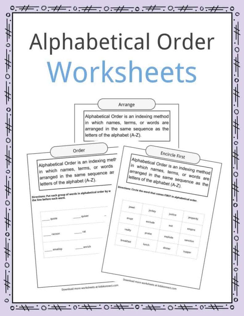Alphabetical Order Worksheets, Examples & Definition Intended For Letter Order Worksheets