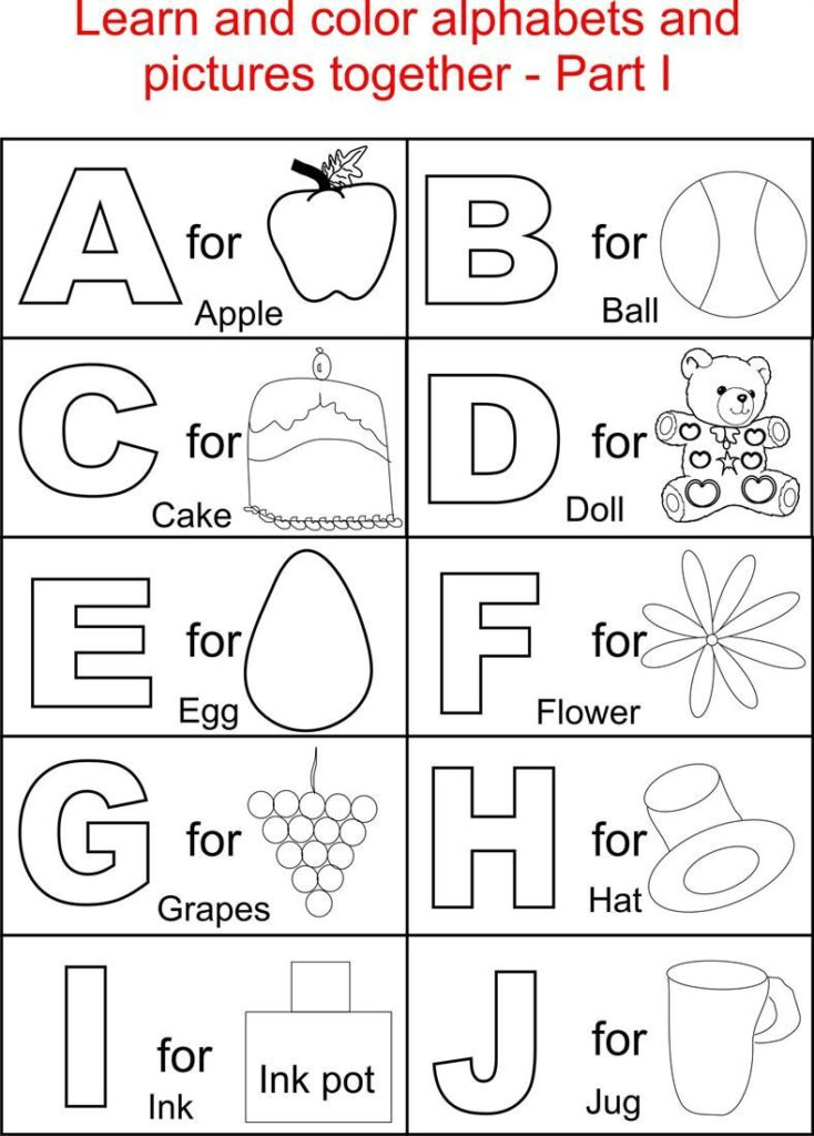 Alphabets Coloring Printable Pages For Kids   Kindergarten Throughout Alphabet Coloring Worksheets For Kindergarten