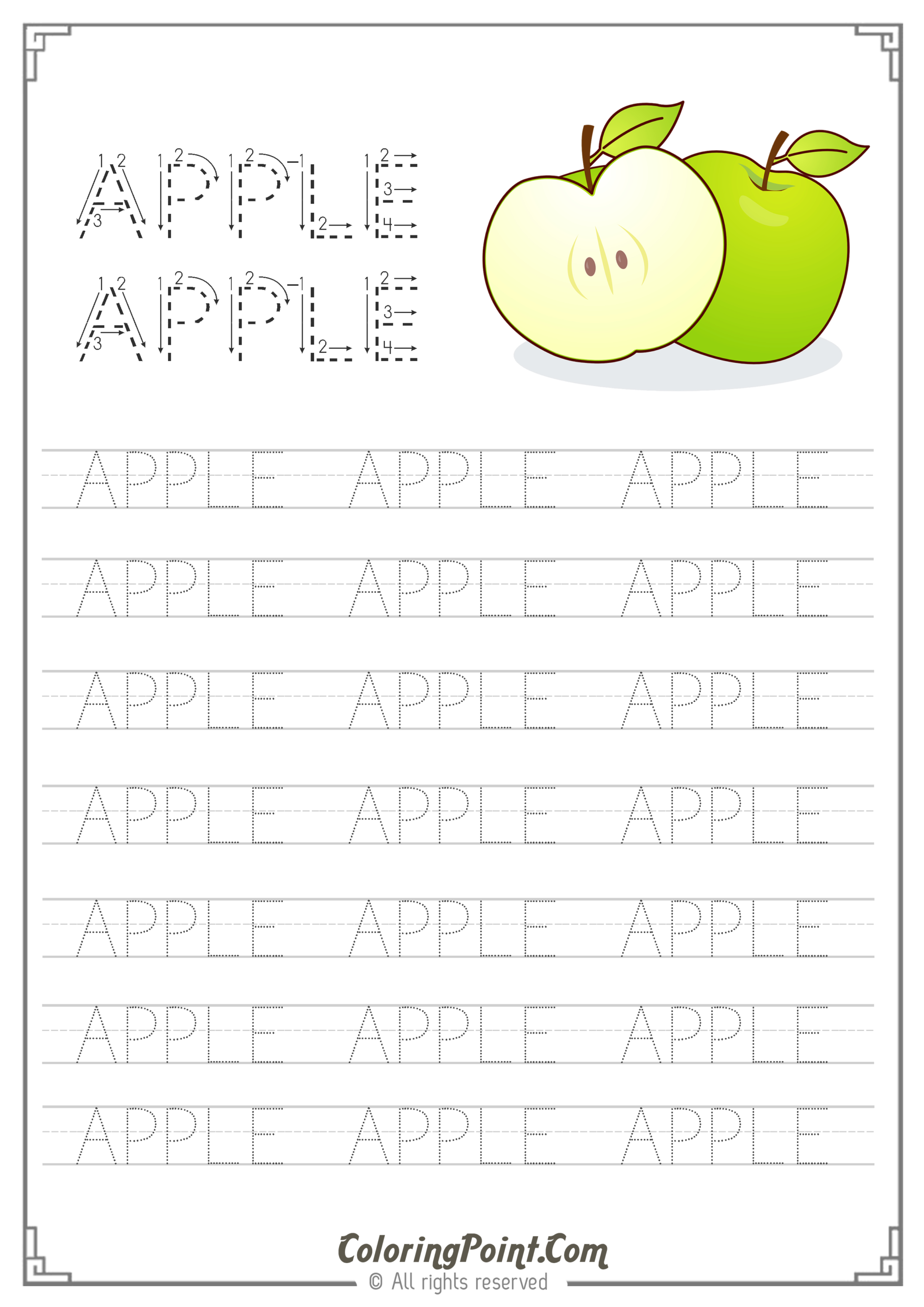 Apple Word Tracing Worksheet | Tracing Worksheets, Name with Name Tracing Colored