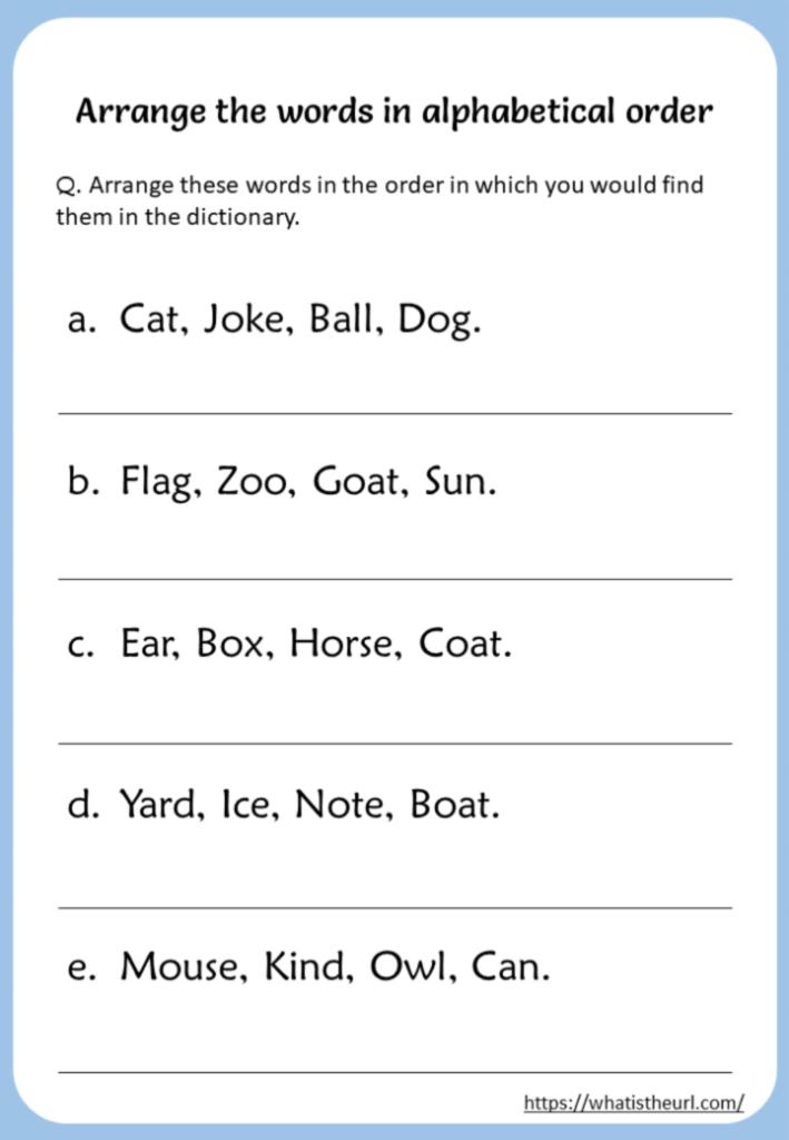 Arrange The Words In Alphabetical Order Worksheet   Your Pertaining To Alphabet Order Worksheets