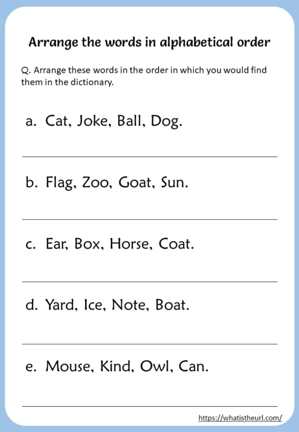 Arrange-The-Words-In-Alphabetical-Order-Worksheet - Your pertaining to Alphabet Order Worksheets