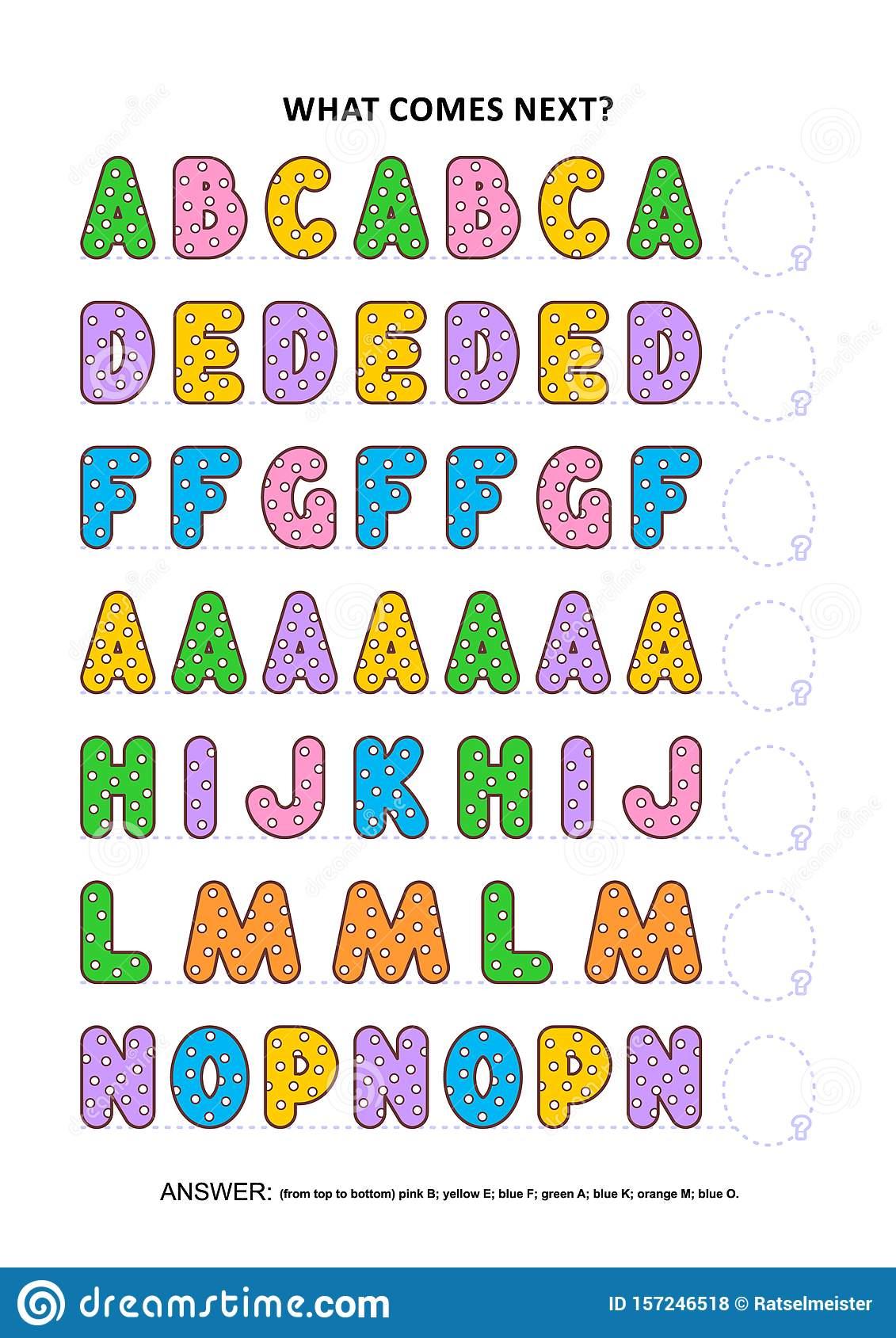 Basic Skills Practice Worksheet - Sequential Pattern regarding Letter Logic Worksheets Answers