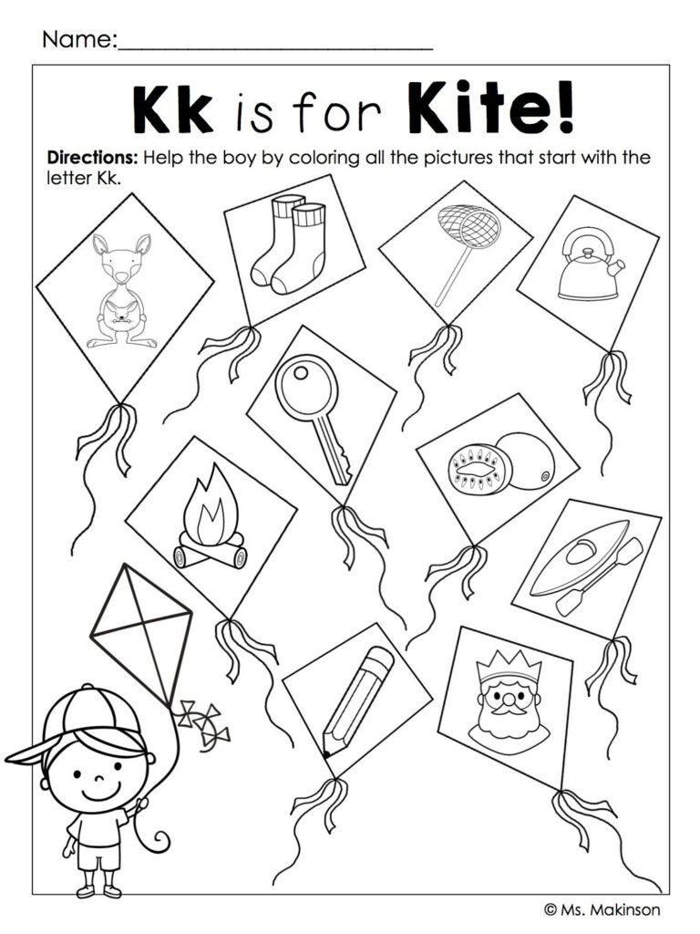 Beginning Sounds | Kites Preschool, Beginning Sounds Within Letter K Worksheets Twisty Noodle