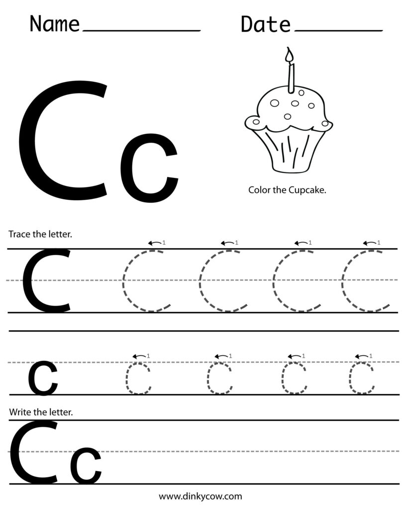 C Free Handwriting Worksheet Print (2400×2988 Within Letter C Worksheets For Pre K